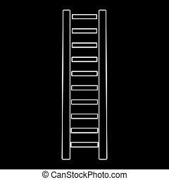 étape, sentier, échelle, bois, icône, blanc