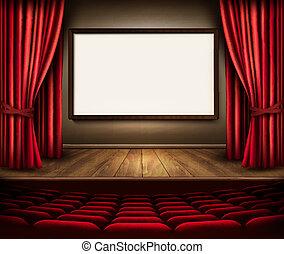 étape, sièges, projet, board., théâtre, rideau, rouges, v