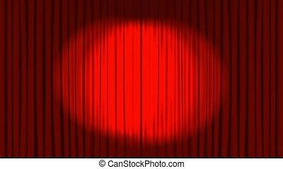 étape, théâtre, opening., rideaux