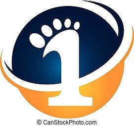 étape, vecteur, conception, gabarit, logo, premier