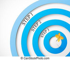 étapes, à, les, cible