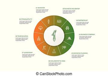 étapes, association, icônes, bâtiment, cercle,...