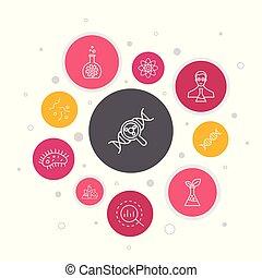 étapes, association, icônes, design., bâtiment, bulle,...