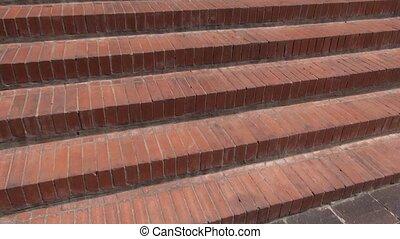étapes, brique, cages escalier, escalier, rue