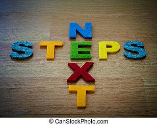étapes, concept, lettres, coloré, suivant
