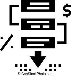 étapes, crise, glyph, financier, vecteur, illustration, icône