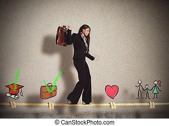 étapes, de, femme affaires, vie