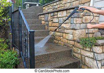 étapes, entrée, escalier, devant, pression, puissance, lavage