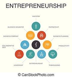 étapes, entrepreneurship, icônes simples, direction,...