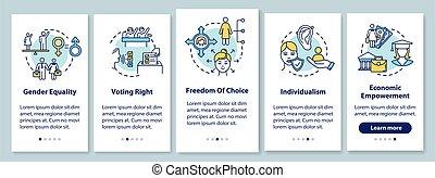 étapes, instructions., rgb, app, liberté, vecteur, femmes, ...