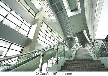 étapes, moderne, en mouvement, escalator, business