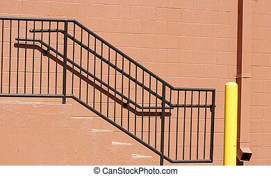 étapes, rouges, fer, balustrade, noir, bloc