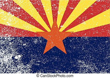 état, arizona, grunge, drapeau
