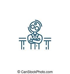 état, de, confusion, linéaire, icône, concept., état, de, confusion, ligne, vecteur, signe, symbole, illustration.