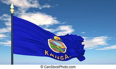 état, kansas, drapeau etats-unis