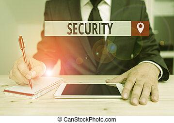 état, note, sûr, projection, danger., écriture, security., gratuite, écurie, business, sentiment, ou, showcasing, photo, peur
