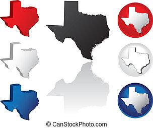 état, texas, icônes