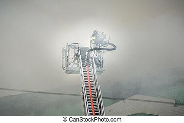 éteindre, pompiers, brûler, smoke., combat, action