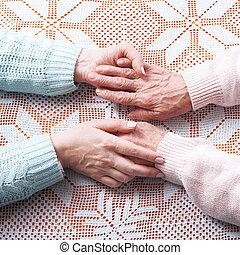 ételadag, fogalom, kézbesít, öregedő törődik