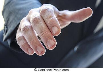 étendre, homme, détail, main