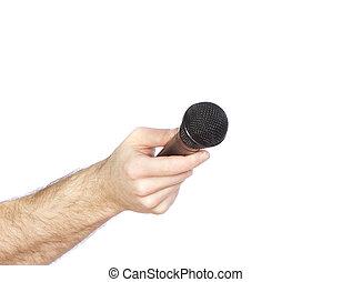 étendre, remettre, vers, microphone