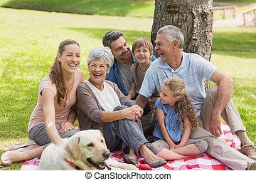 étendu famille, chouchou, parc, chien, leur