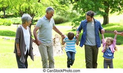étendu famille, debout, dans parc