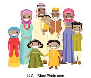 étendu famille, musulman, gai, smile., heureux