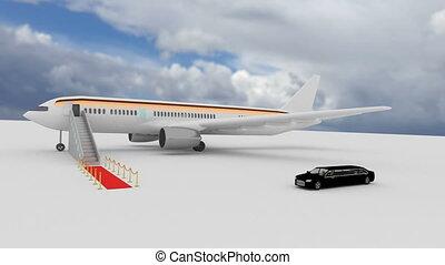 étendue, aéroport, limousine, vip