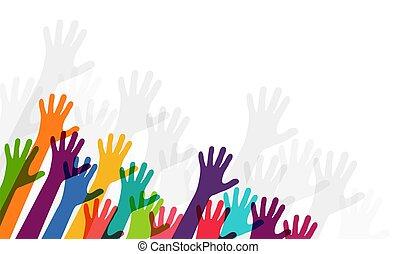 étendue, haut, mains, gens, leur