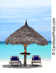étendue, hutte, plage, aruba, couvert chaume