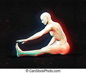 étendue, position, figure masculine, 3d