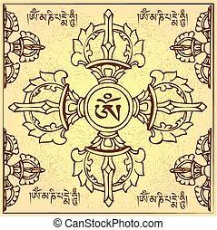 éternel, bouddhisme, illustration, symbole, vecteur, tibétain