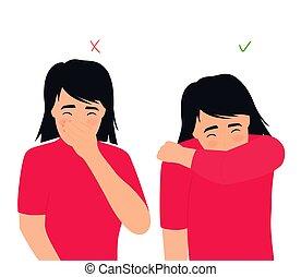 éternue, respiratoire, nez, toux, wrong., droit, disease., ...