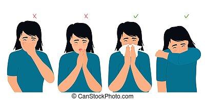 éternue, symptômes, liquide, toux, droit, rhumes, ...