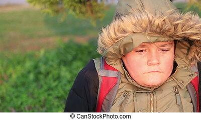 éternuer, portrait, chaud, hiver, garçon, vêtements, jeune