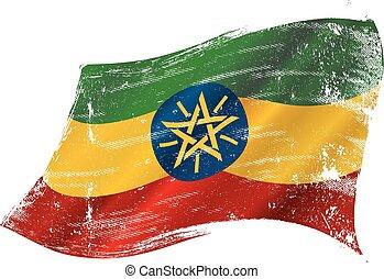 éthiopien, drapeau, grunge