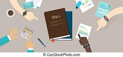 éthique, éthique, concept, business, compagnie, constitué