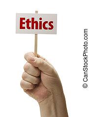 éthique, blanc, poing, signe