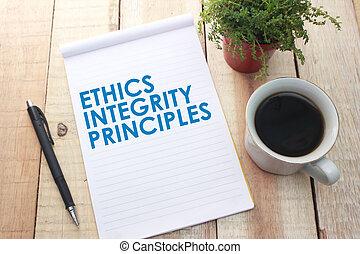 éthique, citations, intégrité, principes, mots, concept affaires