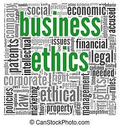 éthique, concept, étiquette, nuage, business