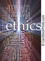 éthique, mot, incandescent, nuage