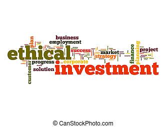éthique, mot, investissement, nuage