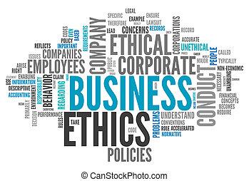 éthique, mot, nuage, business