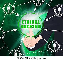éthique, poursuite, illustration, 2d, infraction, hacher, données