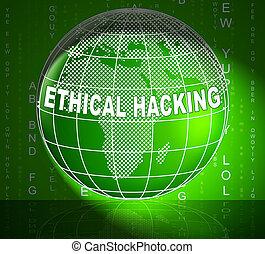 éthique, poursuite, illustration, infraction, hacher, données, 3d