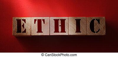 éthique, rouges, bois, arrière-plan., concept, codex, morille, éthique, cubes, mot