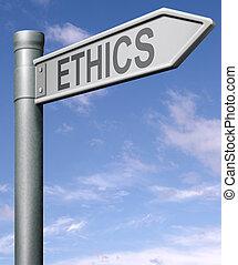 éthique, route, signe flèche