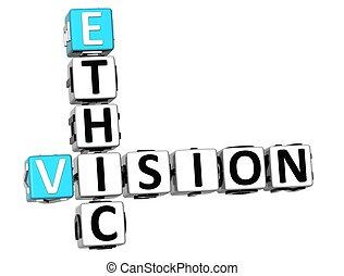 ética, crucigrama, visión, 3d