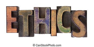 ética, palavra, em, vindima, madeira, letterpress, tipo